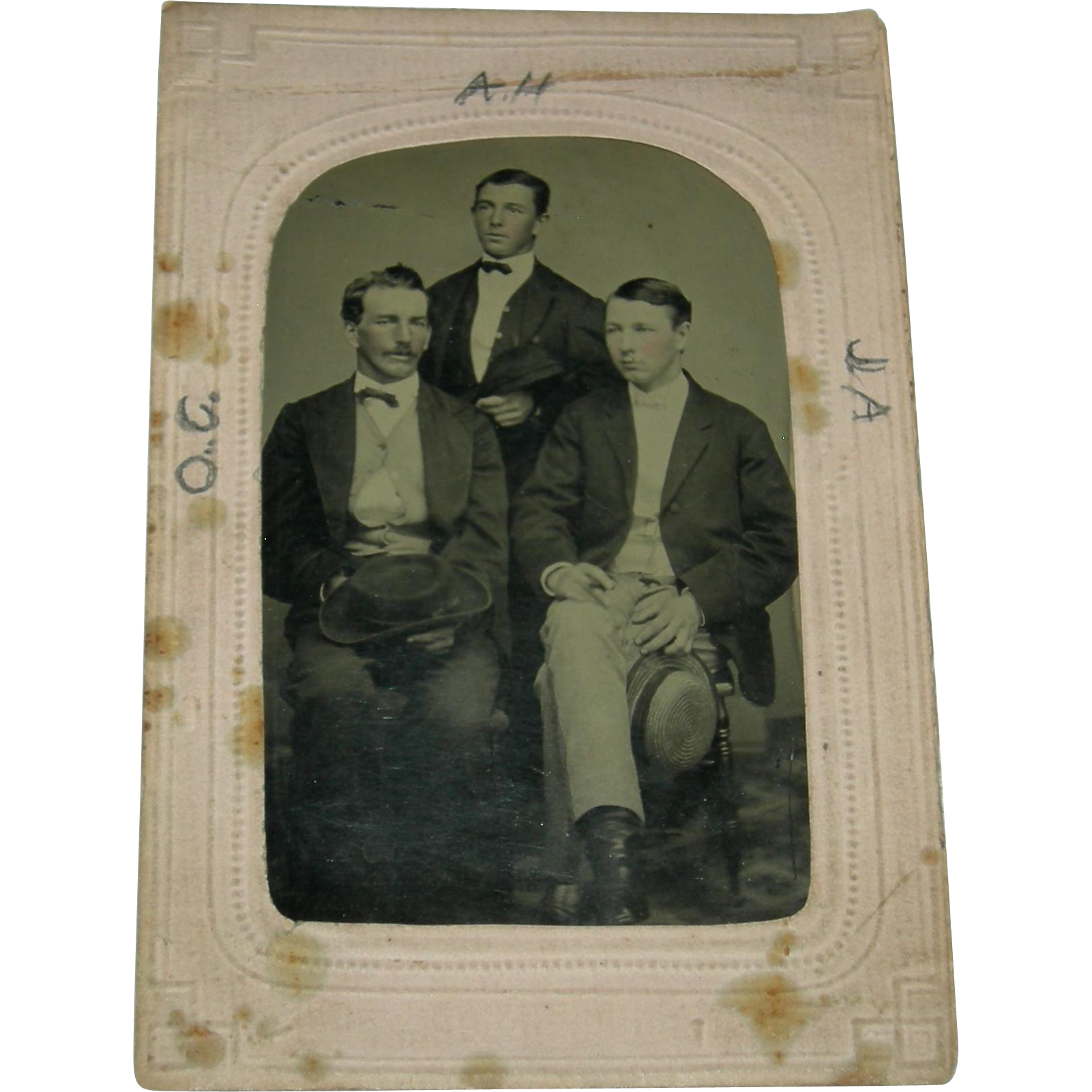 Tintype Three Brothers The Matthews Brothers In A Marked Frame From Preciousrosey On