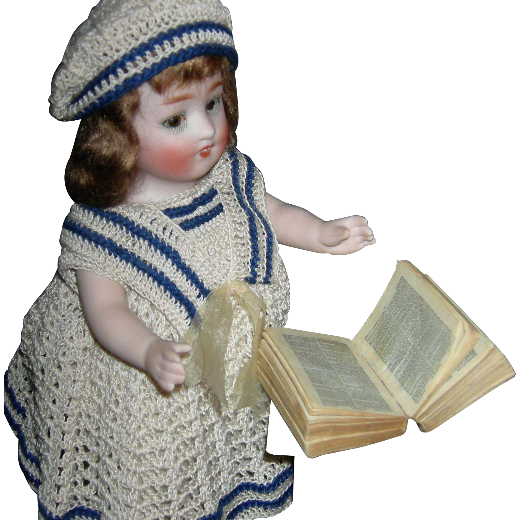 "Cutest!! - BIBLE - Tiny Doll Size!! - 1 3/4"" x 1 1/2"" x1/2"" High - Antique"