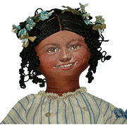 "BROWN CLOTH FOLK DOLL - Painted Smiling Face - 16"" - Curly Yarn Hair - Pretty Clothes w/ Flower Basket!!!"