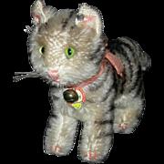 """STEIFF KITTY CAT - Tabby - 5 1/2"""" Tall - Original Button, Bow, Bell, Tag!!! - Mohair!!"""