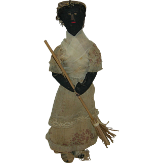 "Early All Original - BLACK CLOTH DOLL - 1900 - Embroidered Face - Lovely Clothes & Straw Broom!! - 11 1/2"" - Dressed As A Bride!!"