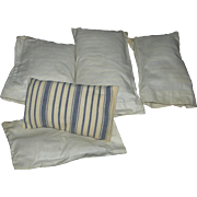 FOUR (4) DOLL PILLOWS - For A Doll's Bed - Striped Stuffed Pillows w/ Pillowcases