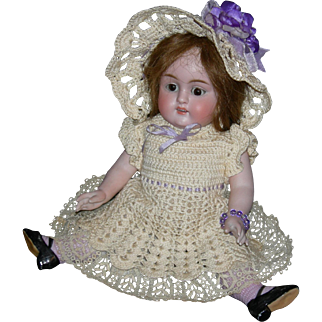 "GIANT 11"" - KESTNER 150 - ALL BISQUE!!! - Rare Lavender Molded Stockings - Pretty Crocheted Dress & Matching Hat!!! - Sleep Eyes!!!"