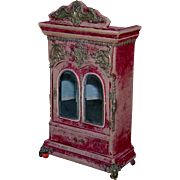 """FRENCH VELVET COVERED WARDROBE - 14"""" TALL - Brass Hinges & Pulls - Brass Decorations - Shelves & Drawer - Accessories!!"""