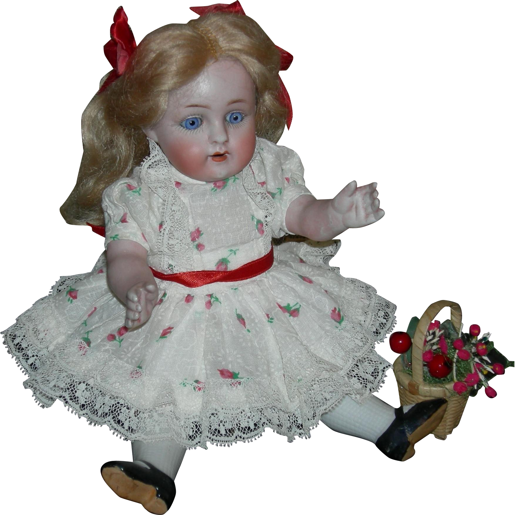 "ALL BISQUE J.D. KESTNER - 9"" - Germany in a Circle - #208 - Blue Eyes & Pretty Clothes!!"