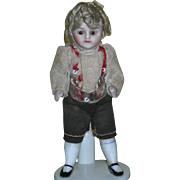 "3 3/4"" - ALL BISQUE BOY - Glass Eyes - Original Clothes & Wig!!"
