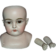 "J.D. KESTNER #148 - Bisque Shoulder Head w/ Bisque Kestner Arms - 5"" Tall - Original Sleep Eyes w/ Wax!!!"