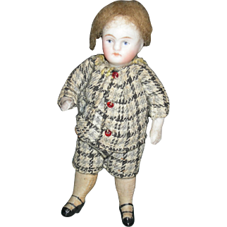 "ALL BISQUE BOY - Swivel Head - 3 1/2"" - Cute Old Clothes - Fully jointed!!!"