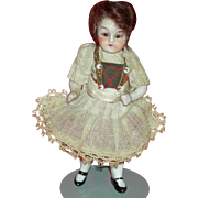 "Tiny 3 3/4"" DOLLHOUSE DOLL - All Original Clothes - Glass Eyes!! - Last One From The Schoolhouse!!"