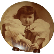 "ADORABLE GIRL - Large Celluloid Photo Button - 6"" - On Metal - Stand!!"