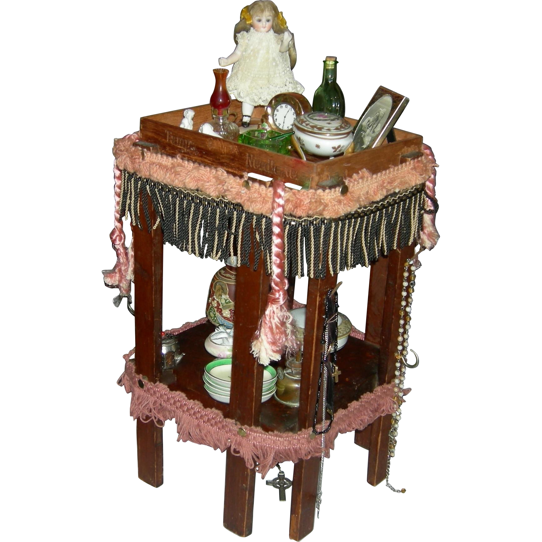 """DOLL'S TABLE - Vintage - Handmade - 14"""" High - With Hooks For Hanging Objects!!"""