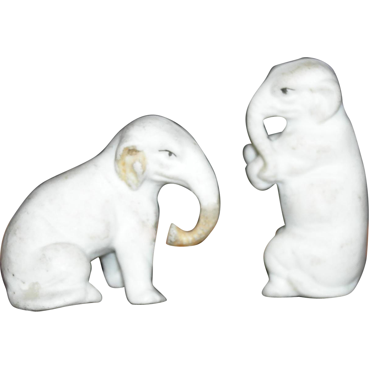 "Two (2) Tiny - ELEPHANTS - Bisque - 1 1/2"" & 1 1/4"" - Vintage!!!"