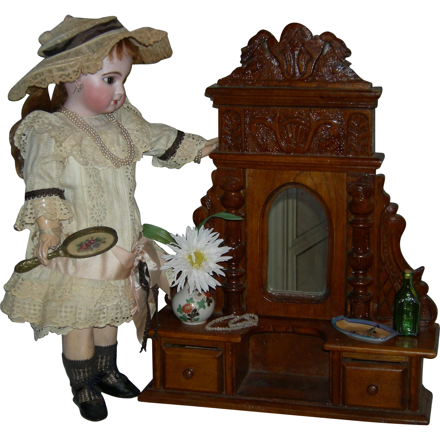 "DOLL DRESSER w/ MIRROR - Vintage - Wood - 19 1/2"" Tall - Pull Out Drawers - Nice Carving!!!"