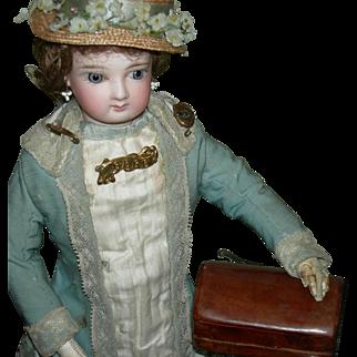 "Tiny 2 3/4"" - Doll TRINKET BOX w/ DOLL PINS - Leather & Wood - 2 3/4"" x 1 3/4"" x 1"" - Vintage & Antique"