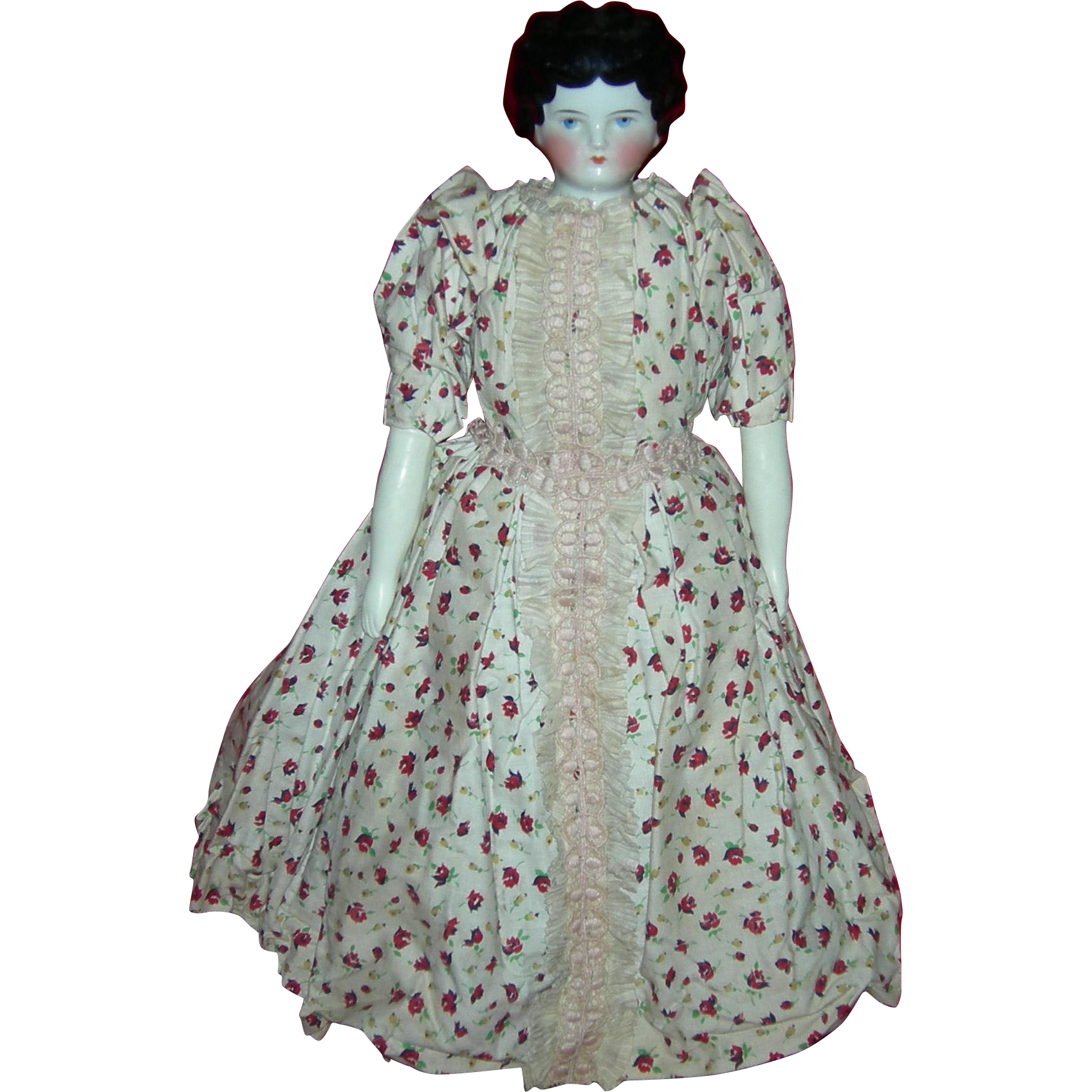"""CHINA HEAD - 15"""" - Old Dress & Undergarments - Paper & Bill From Owner!!"""