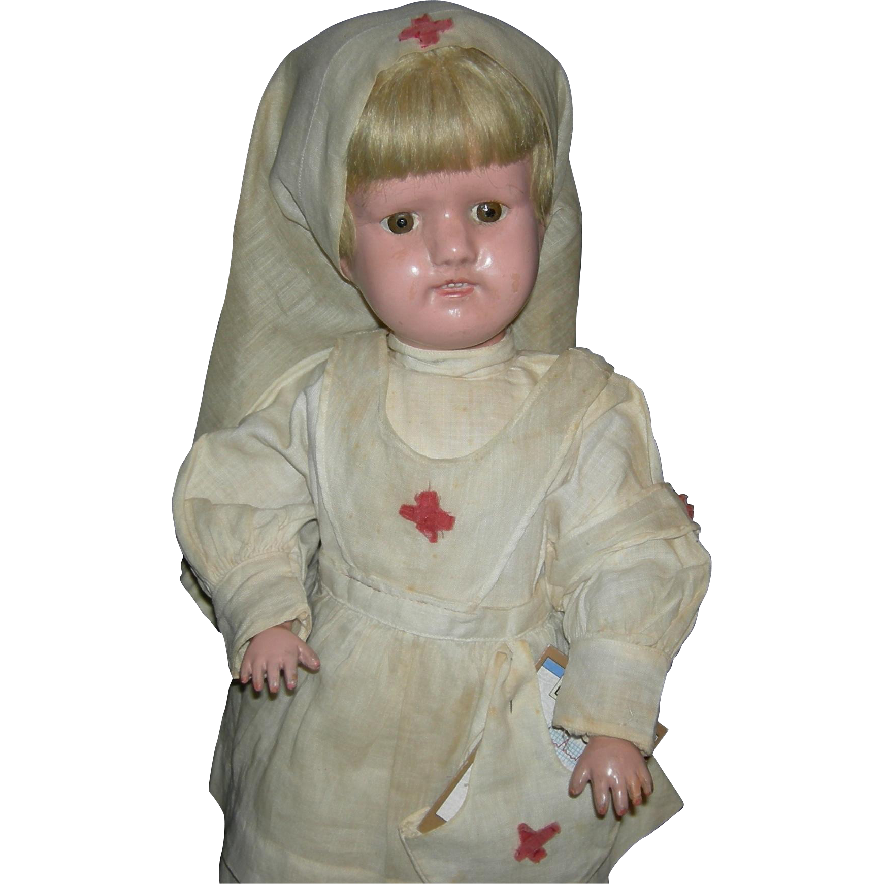 "NURSE SCHOENHUT - 16"" - Original Clothes, Underwear, Shoes & Stand!! - Albert Schoenhut & Co."