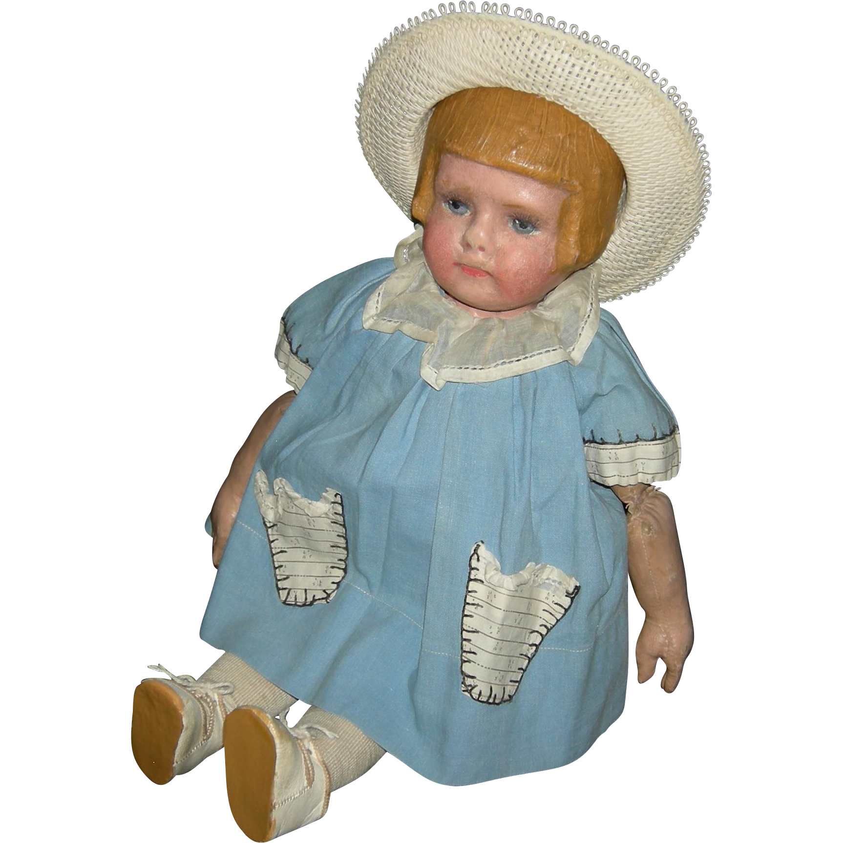 "MARTHA CHASE - Girl w/ Bobbed Hairdo - Early Stamped Cloth Body w/ Extra Joints - 16"" - Cute Clothes!!"