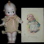 """Rose O'Neill - KEWPIE - 6 1/2"""" - With Kewpie 1915 Old Happy Birthday Post Card!!"""