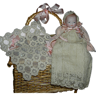 "BYE-LO BABY - 5"" - All Bisque - w/ Layette & Shell Basket - Glass Eyes!! - Pretty Clothes!!"