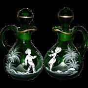 """MARY GREGORY - Oil & Vinegar Cruet Set - 6 1/2"""" - Green Glass - Lovely Painting!!"""
