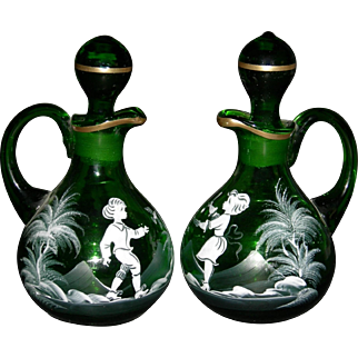 "MARY GREGORY - Oil & Vinegar Cruet Set - 6 1/2"" - Green Glass - Lovely Painting!!"