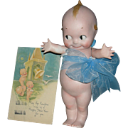"ROSE O'NEILL KEWPIE - Large 8 1/2"" - Bisque - With 1924 Kewpie Happy New Year Post Card!!!"
