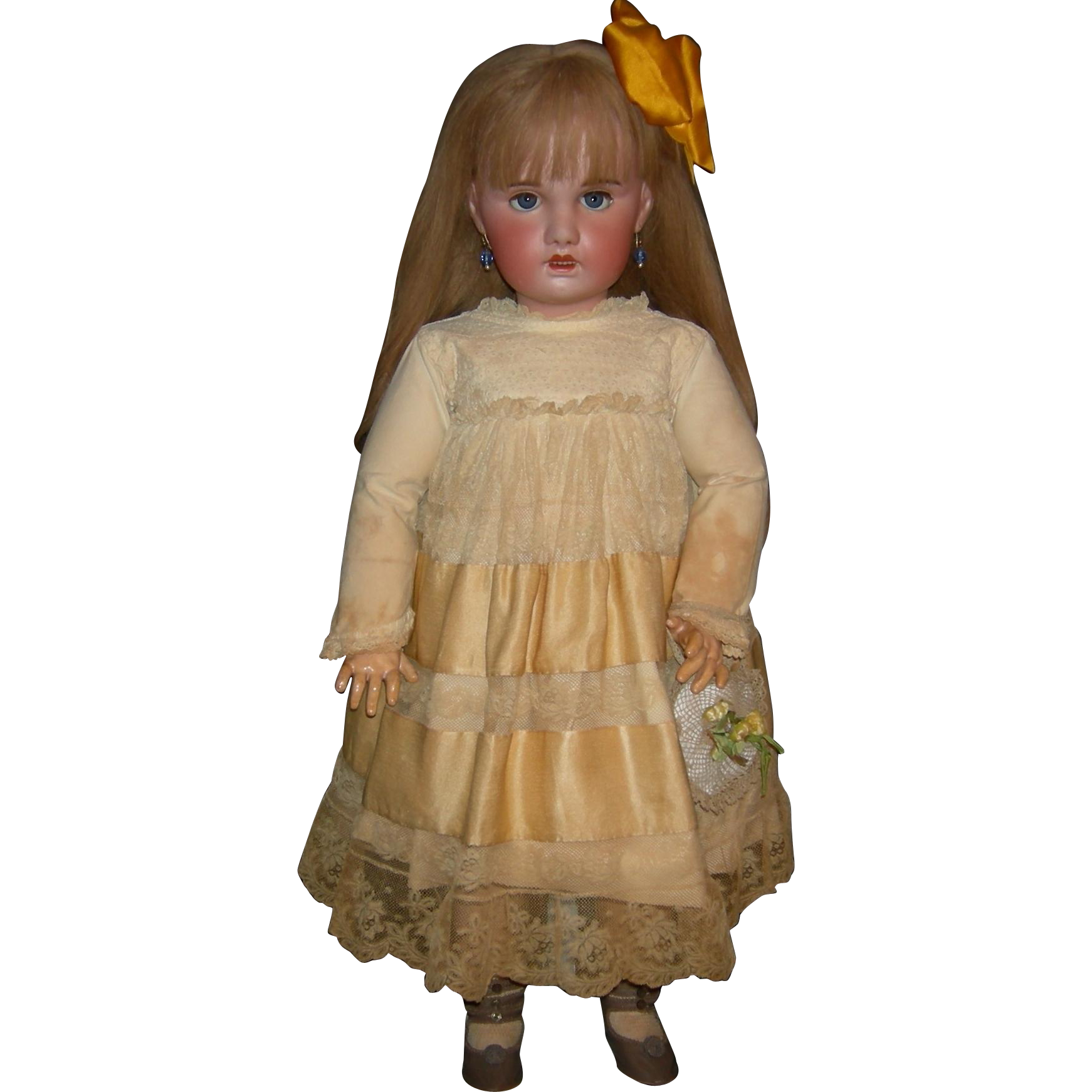 "LARGE 31"" - JUMEAU SFBJ PARIS - Long Blonde Hair & Blue Eyes - Heavy, Chunky Body - Pretty Dress!!!"