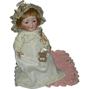 "KESTNER CHARACTER BABY - All Bisque!! - 9"" - Kestner Chest Label - Blue Sleep Eyes - Cute Clothes!!"