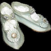 "BLUE CLOTH SHOES - 2 1/2"" - Antique - Pretty Toe Ornaments!!"