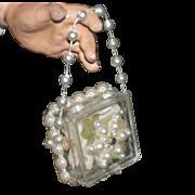 """CISSY DOLL PURSE - 1950's - Fancy w/ Pearls & Flower - 1 1/4"""" x 1 1/4"""""""