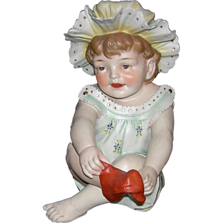 "PIANO BABY - Conta & Boehme - Large 11"" Tall - Putting on a Red Sock!! - Figurine - Made in Germany!!"