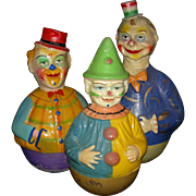 """ROLLY-DOLLY - (3) Musical Clowns - Antique Papier-Mache' - 1900 - Orig Finish!! - 12 1/2"""" - 14 1/2"""""""