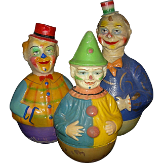 "ROLLY-DOLLY - (3) Musical Clowns - Antique Papier-Mache' - 1900 - Orig Finish!! - 12 1/2"" - 14 1/2"""