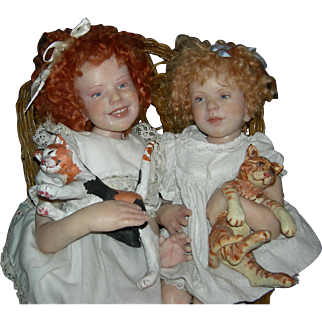 "(2) TWO WAX DOLLS w/ CATS - Vintage - Artist - Sitting in a Wicker Chair - Wonderful Character Dolls - 18"" & 19"""