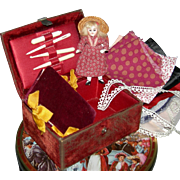 "ANTIQUE SEWING BOX & DOLL - Small Size - 5 x 3 1/2"" Box & 3 1/2"" All Bisque Glass Eye Doll - Fabrics & Trim!!"