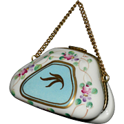 "LIMOGES PURSE - French Miniature For Your Fashion Doll - Porcelain - 1 1/2"" Tall - 2 1/4"" Long - Made in France"
