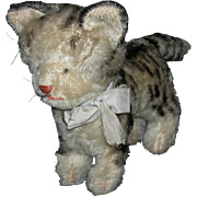 "STEIFF KITTY CAT - 8"" Long & 5 1/2"" Tall - Mohair - Metal Ear Button - Vintage"