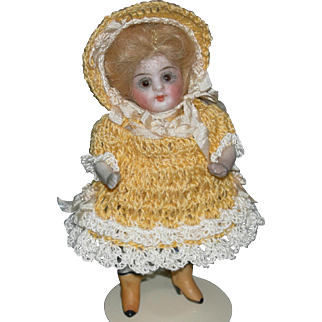 """4"""" MIGNONETTE - Glass Eyes & Swivel Neck - Yellow Boots!! - All Bisque!!"""