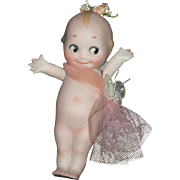 "KEWPIE - 6"" Bisque - Pink Net & Flowers & Butterfly - Bridesmaid - Marked O'Neill On Foot!!"