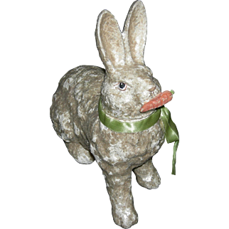 "RABBIT CANDY CONTAINER - Papier Mache' - With Sparkles!! - 8"" Tall - Holding A Carrot!! - Easter!!"