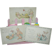 KEWPIE EASTER POST CARDS - Three (3) - Old Vintage Cards w/ Old One Cent Stamps - Kewpies w/ Hen & Chicks, Egg & Rabbit!! - Signed: O'Neill