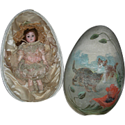 "GIANT 10"" PAINTED SILK EASTER EGG - w/ Original A.M. 1894 Bisque Head Doll - All Original Finish & Clothes!!! - Made in Germany!! - Just Beautiful!!!"