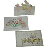 VINTAGE - EASTER POST CARDS - (2) Two - Kewpie Figures w/ chicks & Hats!! - (1) One Stand Up Card w/ Chick!!