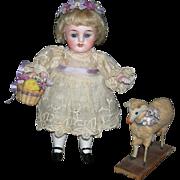 "STROBEL & WILKEN 251 15 SWC - All Bisque - 6"" - With Antique Lamb & Basket!! - Floral Head Wreath!!"
