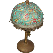 """DOLL's LAMP or DOLLHOUSE LAMP - 7 1/4"""" - Wooden Base & Stem - Padded Fabric Shade & Tassel - Antique!!"""