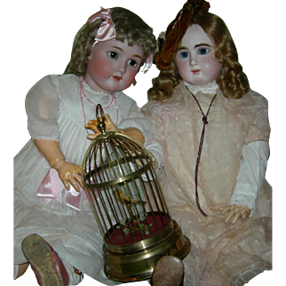 """MECHANICAL BIRDCAGE - 13"""" - Made In Germany - Feathered Bird - On/Off Switch!!"""