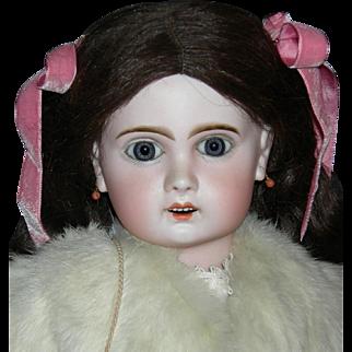 "Lovely - TETE JUMEAU - 24"" - Antique Fur Coat w/ Muff & Antique Dress & Shoes - O/M - Original Jumeau Marked Body!!"