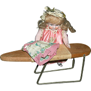 MINIATURE IRONING BOARD - Vintage - Wood & Metal - Old Fabric - Dollhouse Size!!