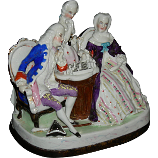 "CONTA & BOEHME - FIGURAL INKWELL - Figures Playing Chess - Sand Shaker & Inkwell - Porcelain - 1800's - Germany!! - 6"" High x 7"" Wide!!"
