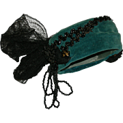 FASHION DOLL HAT - Antique Turquoise Velvet w/ Black Beads & Black Lace - So Fancy!!!